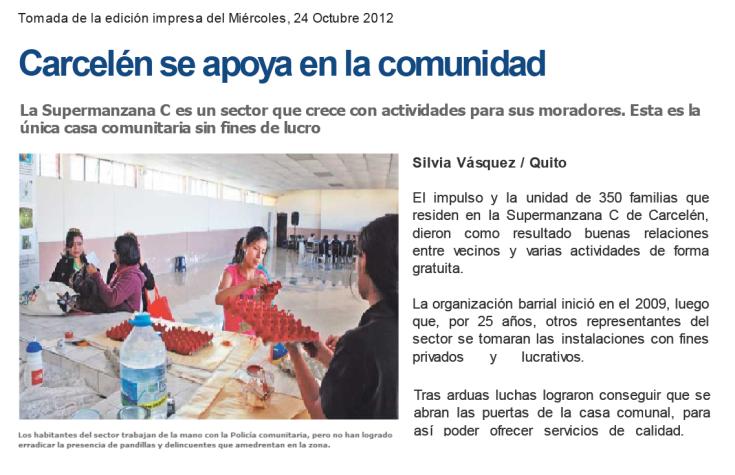 2012 10 24 Carcelén se apoya en la comunidad (resumen)