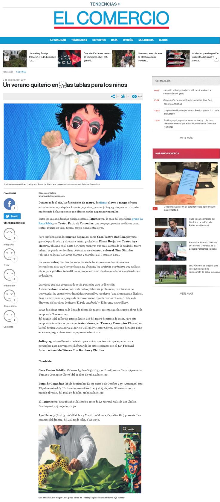 2014 07 03 - El Comercio - Un verano quiteño en las tablas para los niños RESUMEN