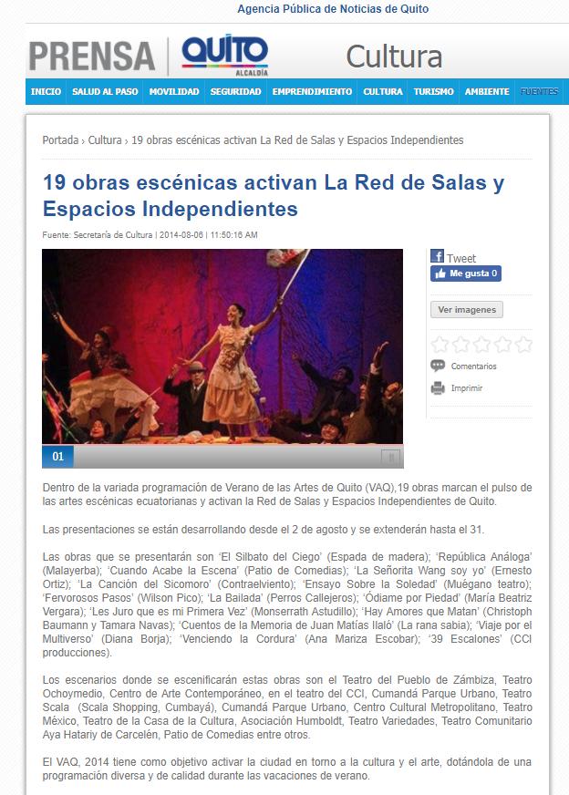 2014 08 06 - Noticias MQ - 19 obras escénicasactivan La Red de Salas y Espacios Independientes RESUMEN
