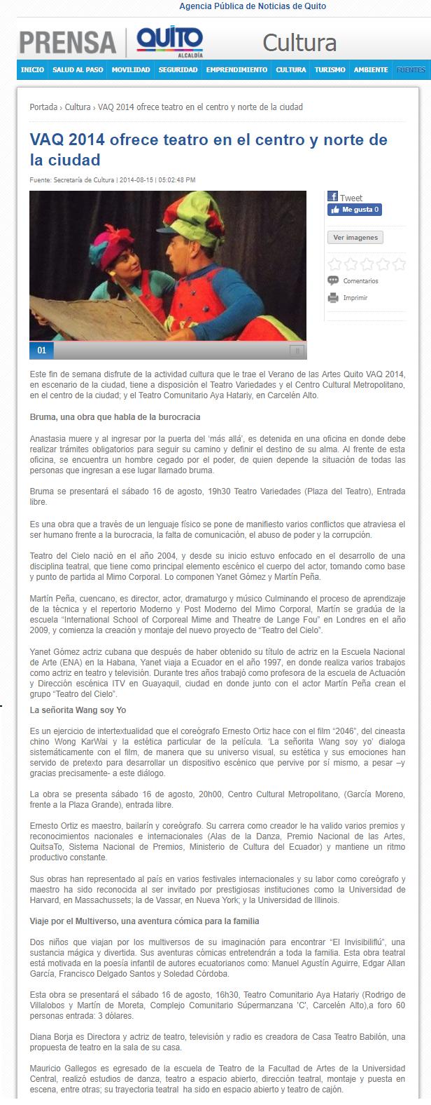 2014 08 15 - Noticias MQ - VAQ 2014 ofrece teatro en el centro y norte de la ciudad Resumen