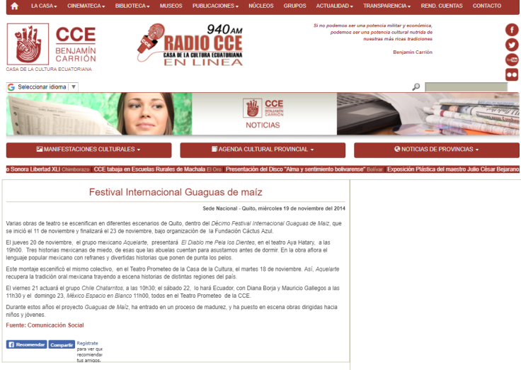 2014 09 19 - CCE - Festival Internacional Guaguas de maiz