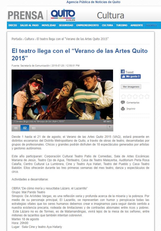 """2015 07 28 - Noticias MQ - El teatro llega con el """"Verano de las Artes Quito 2015"""" Resumen"""