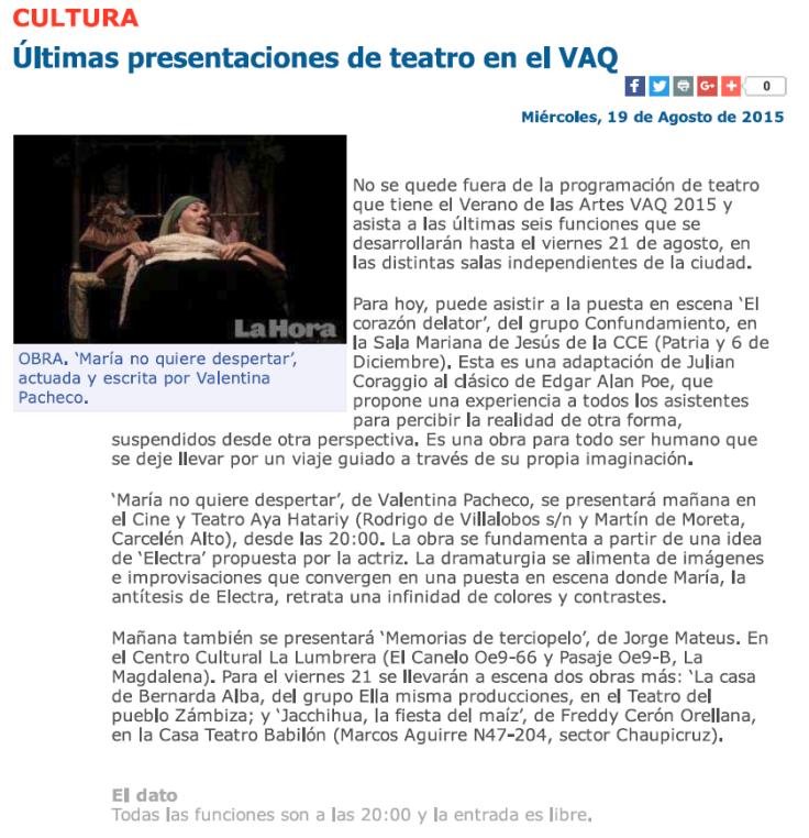 2015 08 19 - Diario La Hora - Últimas presentaciones de teatro