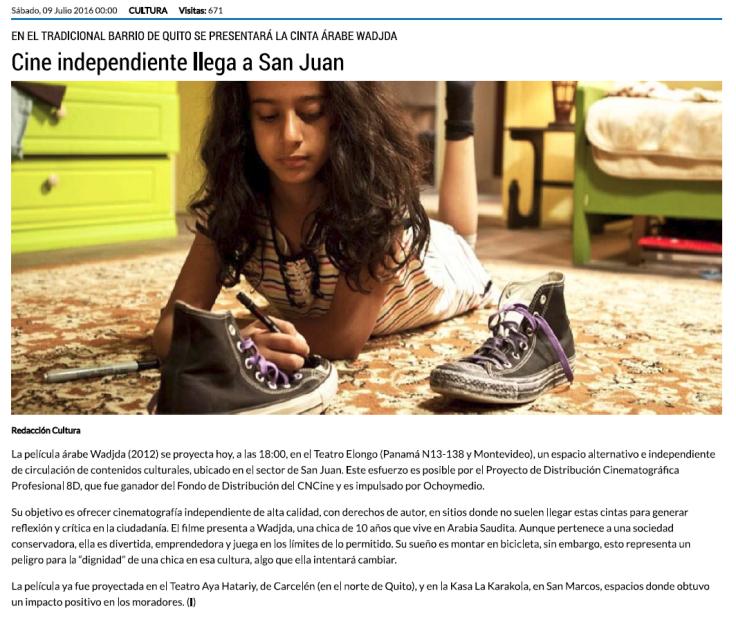 2016 07 09 - El Telégrafo - Cine independiente llega a San Juan