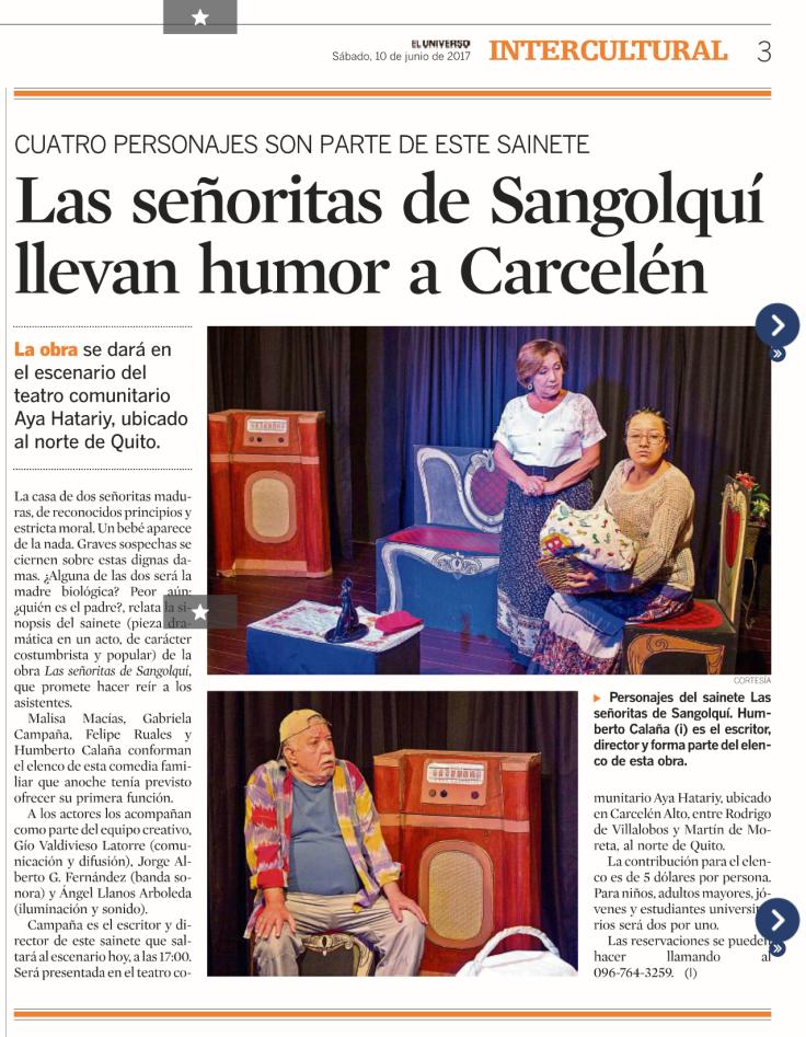 2017 06 10 - El Universo - Las señoritas de Sangolquí llevan humor a Carcelén 02