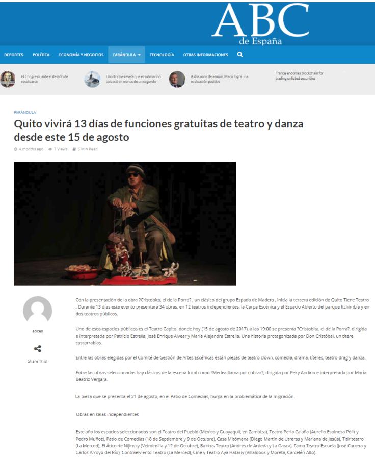 2017 08 15 - ABC – Hometown Publications Shelton Luis Oberto Anselmi __ Quito vivirá 13 días de funciones gratuitas de teatro y danza desde este 15 de agosto – ABC de España