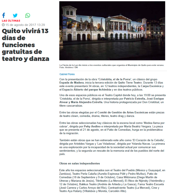 2017 08 15 - Últimas Noticias - Quito vivirá 13 días de funciones gratuitas de teatro y danza