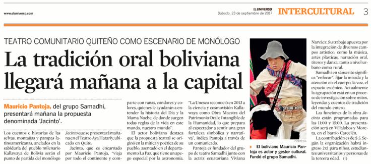 2017 09 23 - El Universo - Versión Impresa - La tradición oral boliviana llegará mañana a Quito