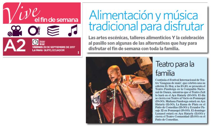 2017 09 29 - Diario La Hora - Versión Impresa - teatro para la familia
