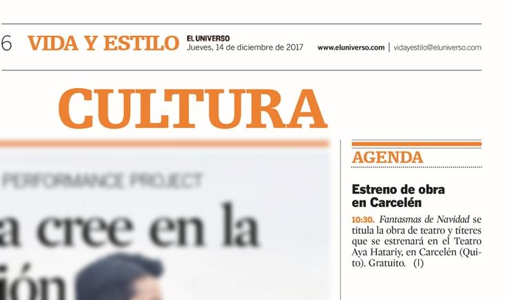 2017 12 14 - El Universo - Estreno de obra en Carcelén