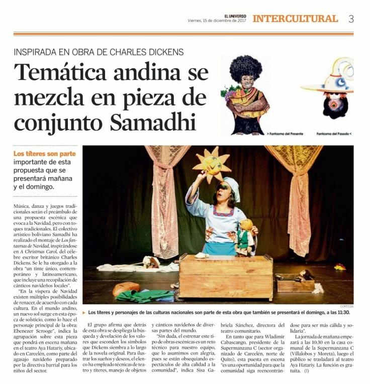 2017 12 15 - El Universo - Impreso - Temática andina se mezcla en pieza de conjunto Samadhi _ Intercultural _ Noticias _ El Universo