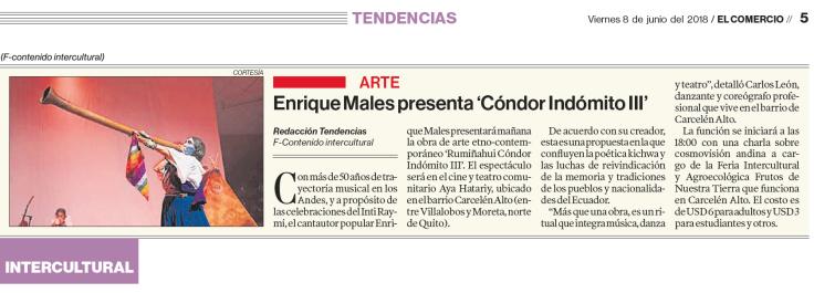 2018 06 08 El Comercio - Nota Enrique