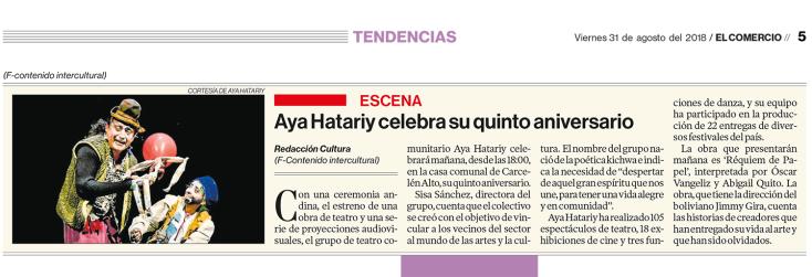 2018 08 31 - El Comercio - Aniversario Aya Hatariy FB