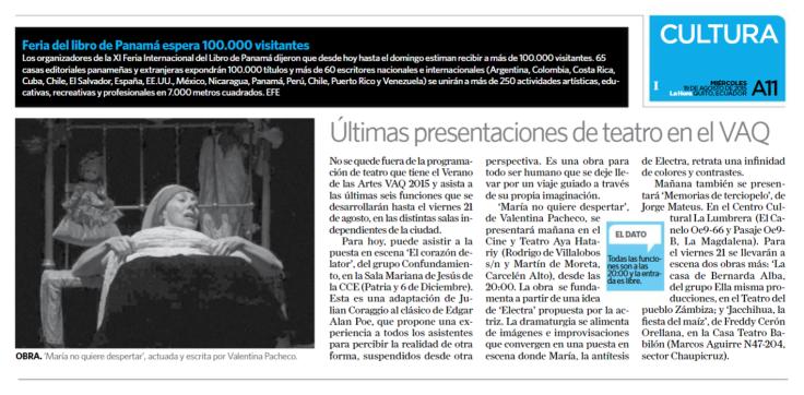 2015 08 19 - Diario La Hora - Ultimas presentaciones del VAQ Aya Hatariy.png