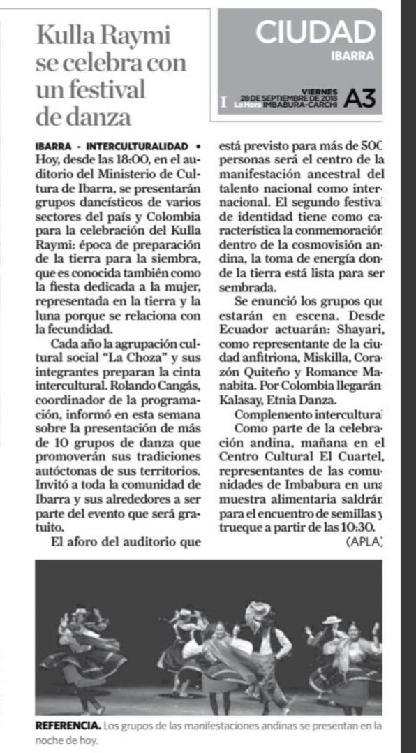 2018 09 28 - Diario La Hora Imbabura - Apoyo Técnico a Kulla Raymi.png