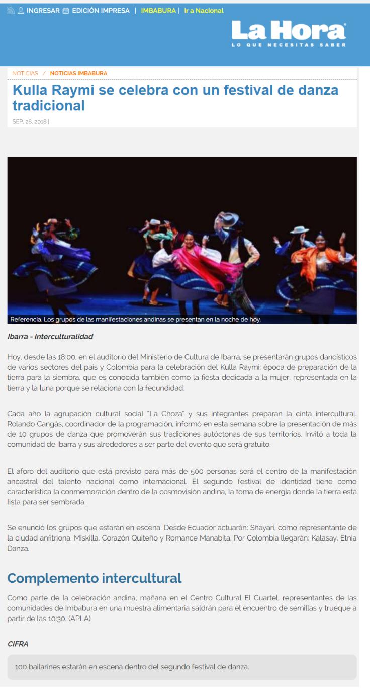2018 09 28 - Diario La Hora Imbabura - Versión WEB - Apoyo Técnico a Kulla Raymi