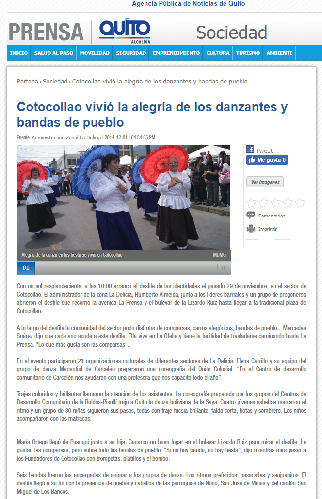 2014 12 01 - Agencia Pùblica de Noticas de Quito - Cotocollao vivió la alegría de los danzantes y bandas de pueblo __ PORTADA WEB.png
