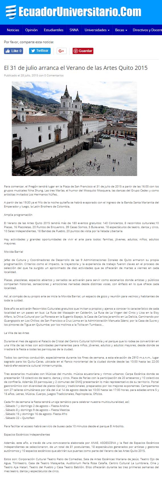 2015 07 28 - Ecuador Universitario - El 31 de julio arranca el Verano de las Artes Quito 2015 _ PORTADA WEB.png