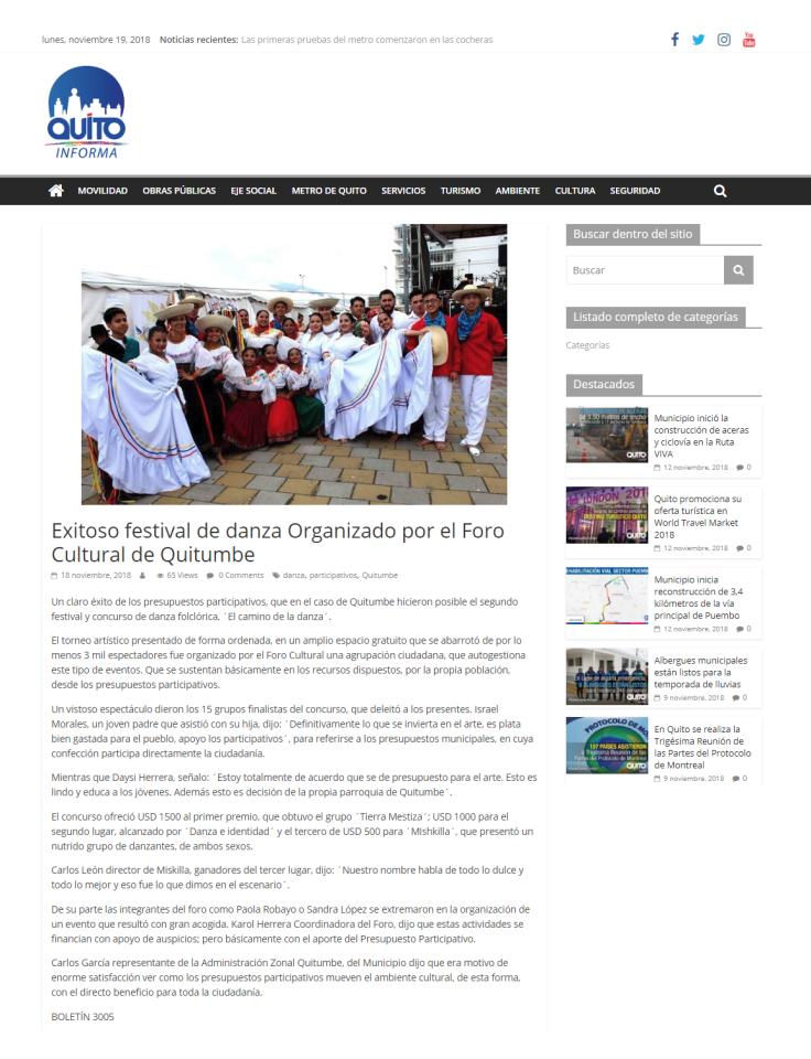 2018 11 18 - Quito Informa - Exitoso festival de danza Organizado por el Foro Cultural de Quitumbe – Quito Informa.png