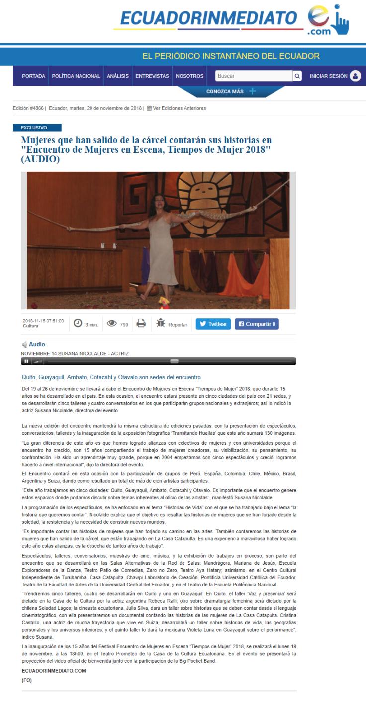 2018 11 19 - Ecuador Inmediato - Mujeres que han salido de la cárcel contarán sus historias en _Encuentro de Mujeres en Escena, Tiempos de Mujer 2018_ (AUDIO) __ PORTAL
