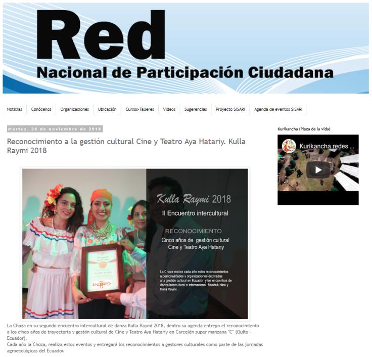 2018 11 20 - RED NACIONAL DE PATICIPACIÓN CIUDADANA - Reconocimiento a la gestión cultural Cine y Teatro Aya Hatariy. Kulla Raymi 2018 PORTAL