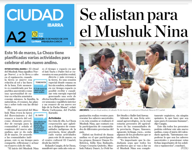 2019 03 13 Diario La Hora - Mushuk Nina - A2.png