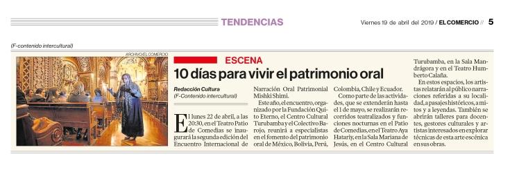2019 04 19 El Comercio - 10 días para vivir el patrimonio oral