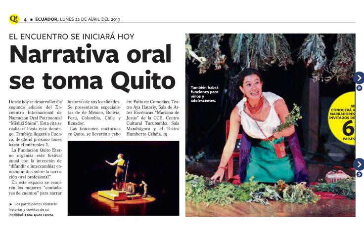 2019 04 22 Diario Que - Narrativa Oral se toma Quito