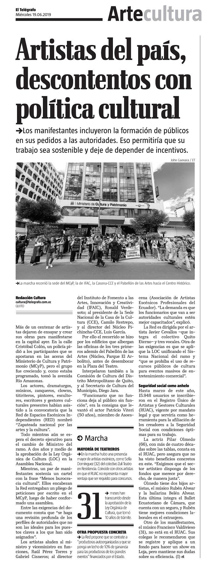 2019 06 19 - Telégrafo - Versión Impresa - Artistas del país descontentos con política cultural (low)